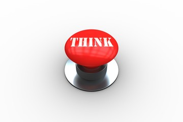 Think on digitally generated red push button