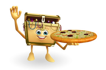 Treasure box character with pizza