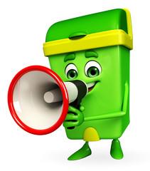 Dustbin Character with loudspeaker