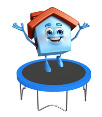 House character with trampolines