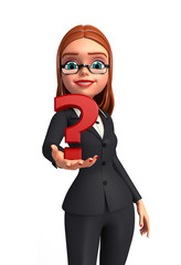 Young Business Woman with question mark sign
