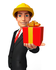 Young Business Man with gift box