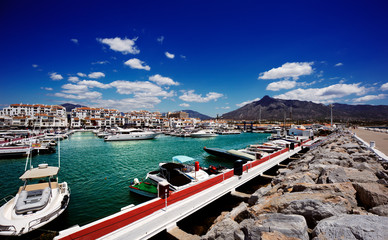 Luxury yachts and motor boats in Puerto Banus in Marbella, Spain