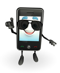 Mobile character with sun glasses