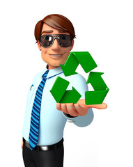 Young Service Man with recycle sign