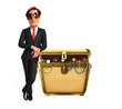 Young Business Man with treasure box