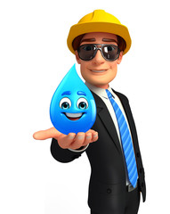 Young Business Man with water drop