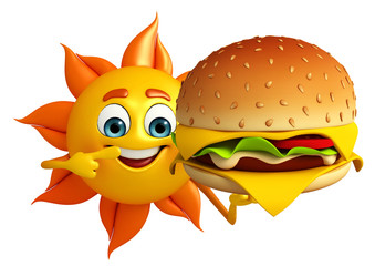 Sun Character  with burger