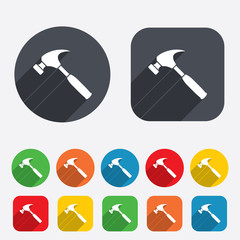 Hammer sign icon. Repair service symbol.