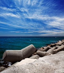 Breakwater in the Puerto Banus in Marbella, Spain