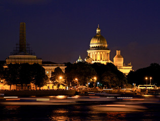 Russia. Night Saint - Petersburg. St. Isaac Cathedral.