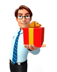 Young Service Man with gift box