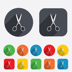 Scissors hairdresser sign icon. Tailor symbol.
