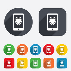 Smartphone protection sign icon. Shield symbol.
