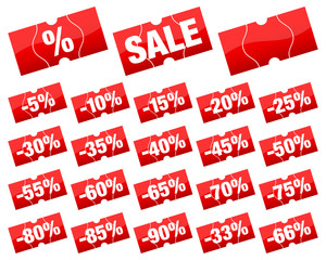Sale Price Tags Set Minus Red Angled Divided