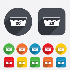 Wash icon. Machine washable at 20 degrees symbol