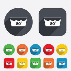 Wash icon. Machine washable at 80 degrees symbol