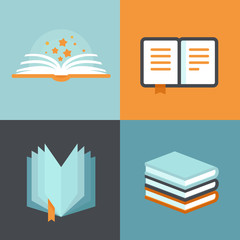 Vector book signs and symbols - education concepts
