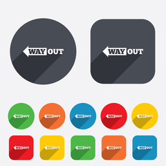 Way out left sign icon. Arrow symbol.