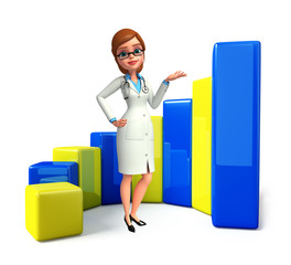 Young Doctor with business graph
