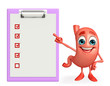 Cartoon Character of stomach with notepad