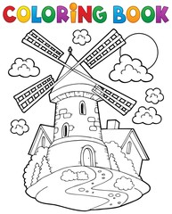 Coloring book windmill 1
