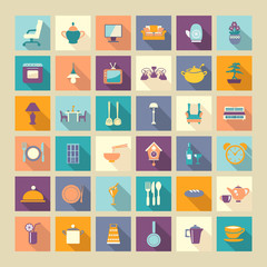 A set of home related icons elements-illustation