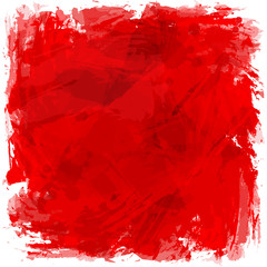 Abstract red brush strokes. Square vector artistic background.