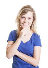 Laughing scandinavian woman in a blue shirt