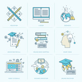 Fototapety Set of flat line icons for online education
