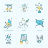 Fototapety Set of flat line icons for education