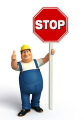 Young Plumber with stop sign