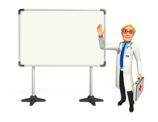 Young Doctor with display board