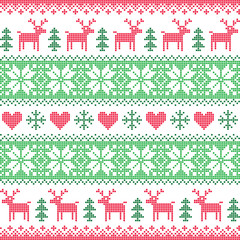 Winter, Christmas red and green seamless pattern with deer