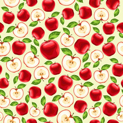 red apples seamless pattern