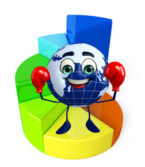 Globe Character with business graph