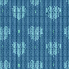 knitted background with hearts