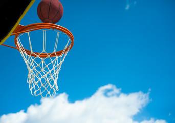 Basketball basket with ball