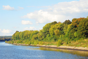 Russian nature. Autumn. View of the Volga river.