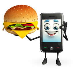 Mobile character with burger