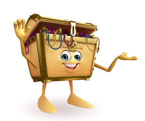 Treasure box character with hello sign
