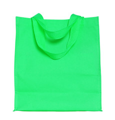 green canvas shopping bag isolated on white background with clip