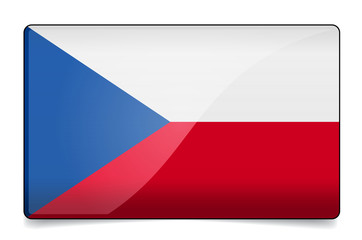 Czech republic flag button with reflection and shadow. Isolated