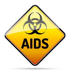 AIDS HIV Biohazard virus danger sign with shadow - isolated