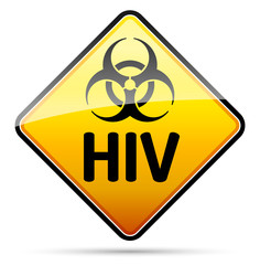 HIV Biohazard virus danger sign with shadow - isolated