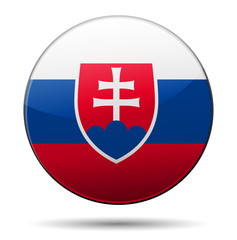 Slovakia flag button with reflection and shadow. Isolated glossy