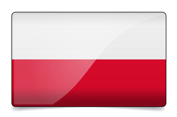 Poland flag button with reflection and shadow. Isolated glossy.
