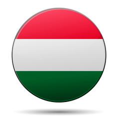 Hungary flag button with reflection and shadow. Isolated.