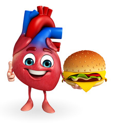 Heart character with burger