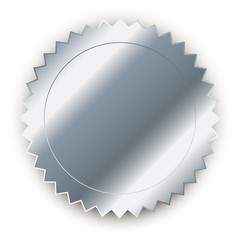 Vector design element. Round silver medal with shadow.